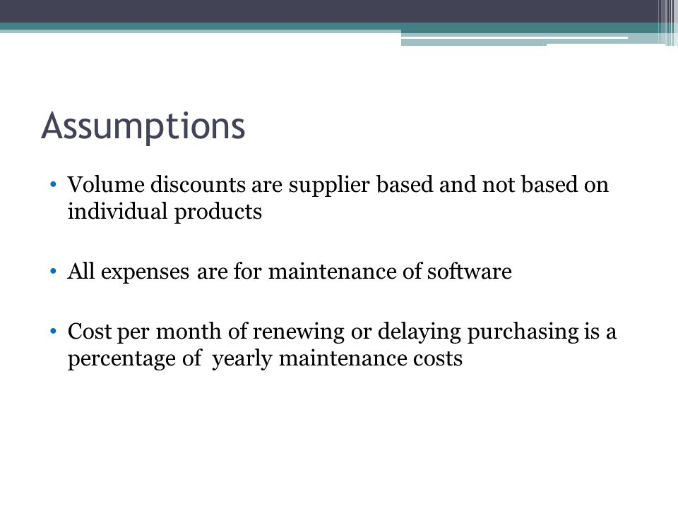 Assumptions Volume discounts are supplier based and not based on individual products All expenses are for maintenance of software Cost per month of renewing or delaying purchasing is a percentage of yearly maintenance costs