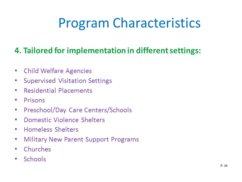 Program Characteristics 4.