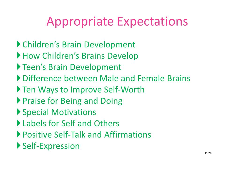 Appropriate Expectations  Children's Brain Development  How Children's Brains Develop  Teen's Brain Development  Difference between Male and Female Brains  Ten Ways to Improve Self-Worth  Praise for Being and Doing  Special Motivations  Labels for Self and Others  Positive Self-Talk and Affirmations  Self-Expression P.