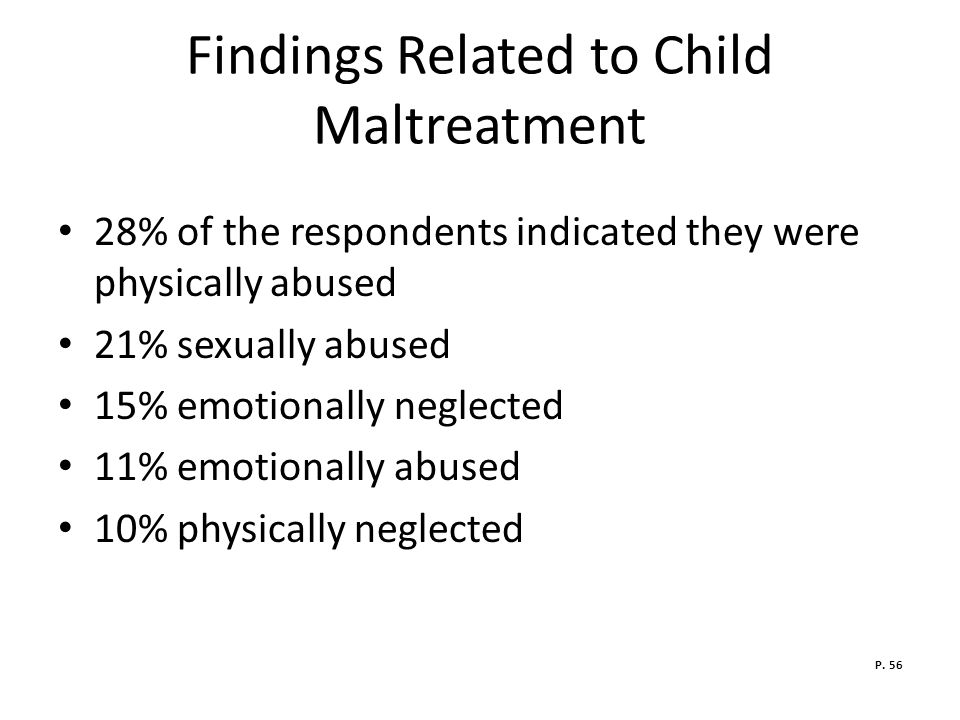 Findings Related to Child Maltreatment 28% of the respondents indicated they were physically abused 21% sexually abused 15% emotionally neglected 11% emotionally abused 10% physically neglected P.