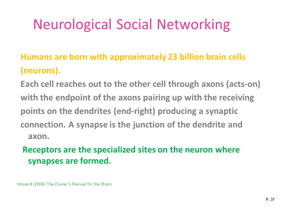 Neurological Social Networking Humans are born with approximately 23 billion brain cells (neurons).
