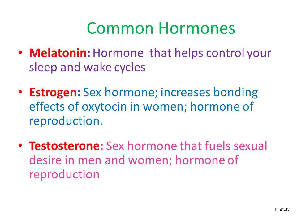 Common Hormones Melatonin: Hormone that helps control your sleep and wake cycles Estrogen: Sex hormone; increases bonding effects of oxytocin in women; hormone of reproduction.