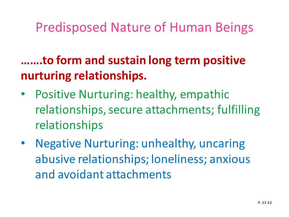 Predisposed Nature of Human Beings …….to form and sustain long term positive nurturing relationships.