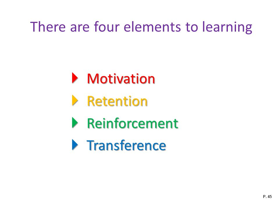 There are four elements to learning  Motivation  Retention  Reinforcement  Transference P. 45
