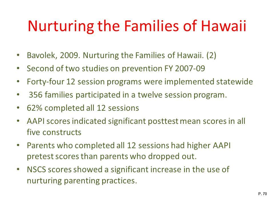 Nurturing the Families of Hawaii Bavolek, 2009.Nurturing the Families of Hawaii.