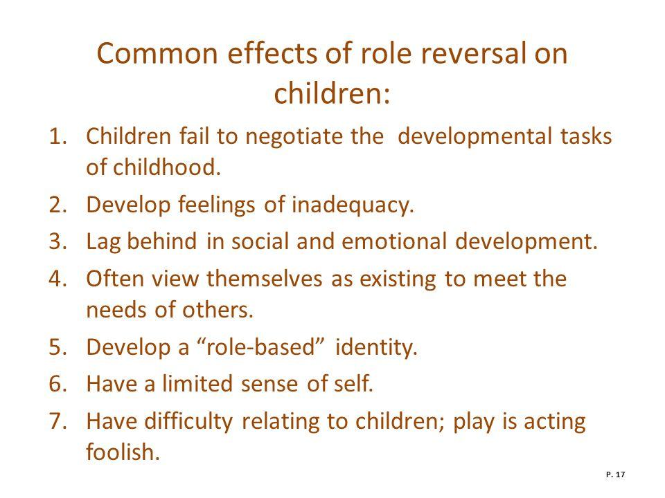 Common effects of role reversal on children: 1.Children fail to negotiate the developmental tasks of childhood.