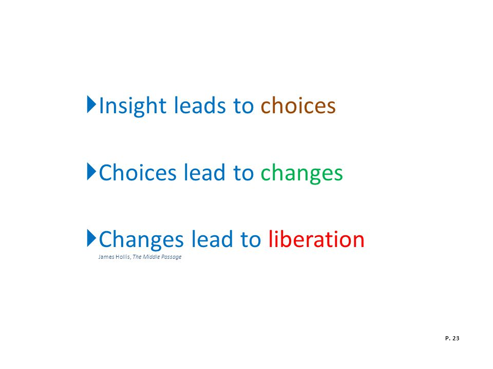  Insight leads to choices  Choices lead to changes  Changes lead to liberation James Hollis, The Middle Passage P.