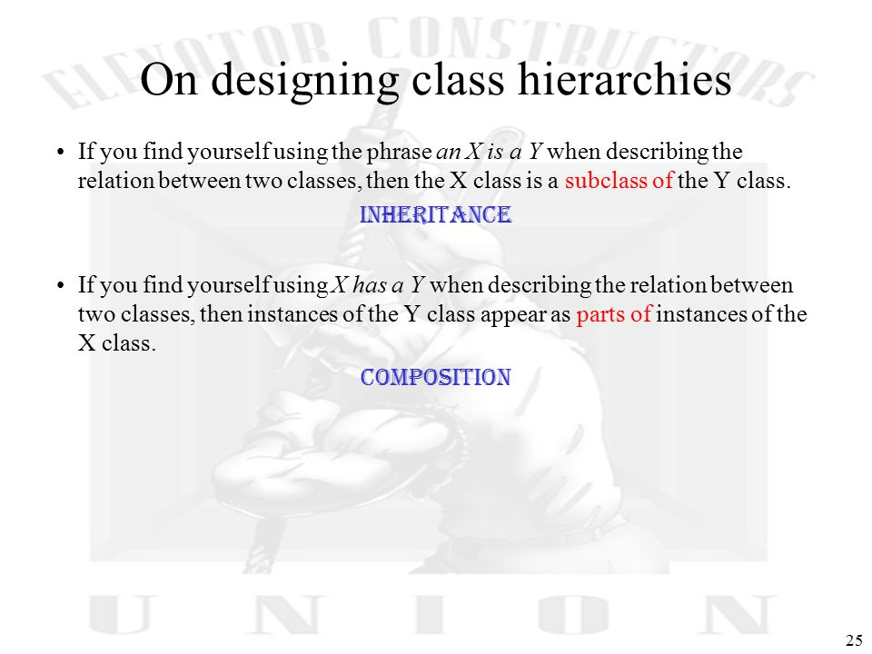25 On designing class hierarchies If you find yourself using the phrase an X is a Y when describing the relation between two classes, then the X class is a subclass of the Y class.