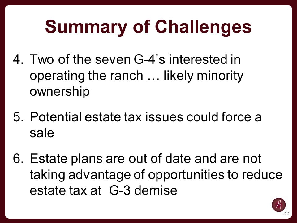 4.Two of the seven G-4's interested in operating the ranch … likely minority ownership 5.Potential estate tax issues could force a sale 6.Estate plans are out of date and are not taking advantage of opportunities to reduce estate tax at G-3 demise 22 Summary of Challenges