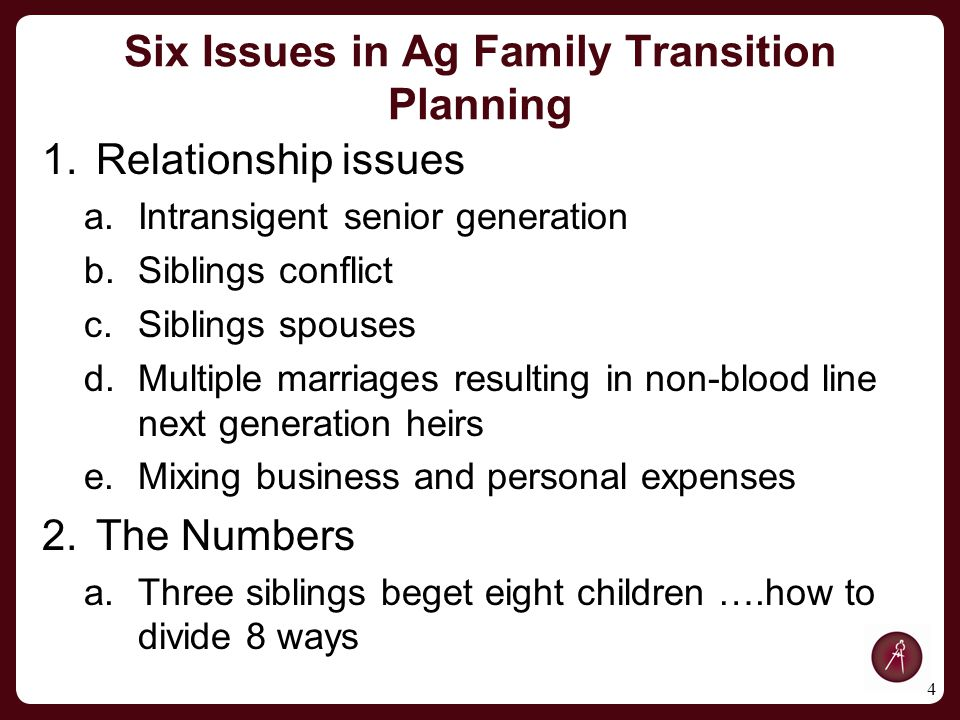 Family Situation A.Parents are deceased, but left the ranch with considerable debt B.Bob Neuberger (oldest operating sibling) age 53, married to Evelyn 1.Cal – age 24 2.Evan – age 22 3.Ellen – age 20 C.Billy – second oldest – age 51 and married to Lauren 1.Darren – age 20 2.Sarah – age 18 D.Kevin – youngest brother – age 45, married to Jean 1.Debbie – age 15 2.Robert – age 12 15