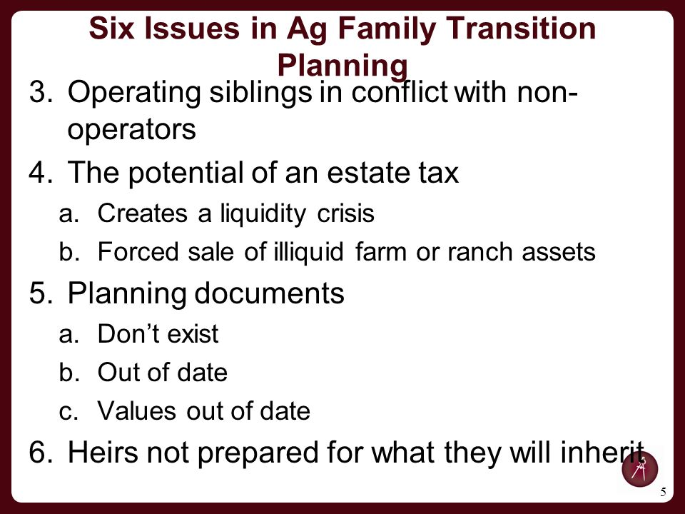 Six Issues in Ag Family Transition Planning 3.Operating siblings in conflict with non- operators 4.The potential of an estate tax a.Creates a liquidity crisis b.Forced sale of illiquid farm or ranch assets 5.Planning documents a.Don't exist b.Out of date c.Values out of date 6.Heirs not prepared for what they will inherit 5