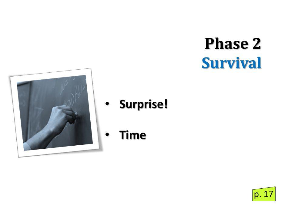 Phase 2 Survival Surprise! Surprise! Time Time p. 17