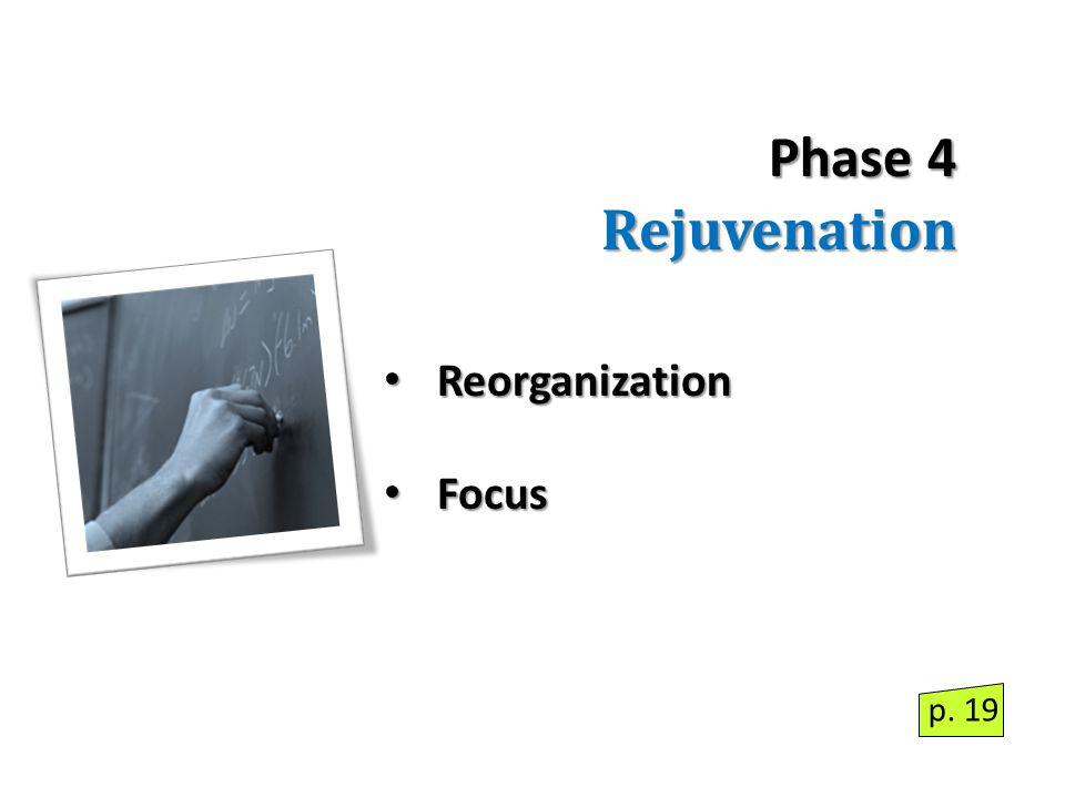 Phase 4 Rejuvenation Reorganization Reorganization Focus Focus p. 19