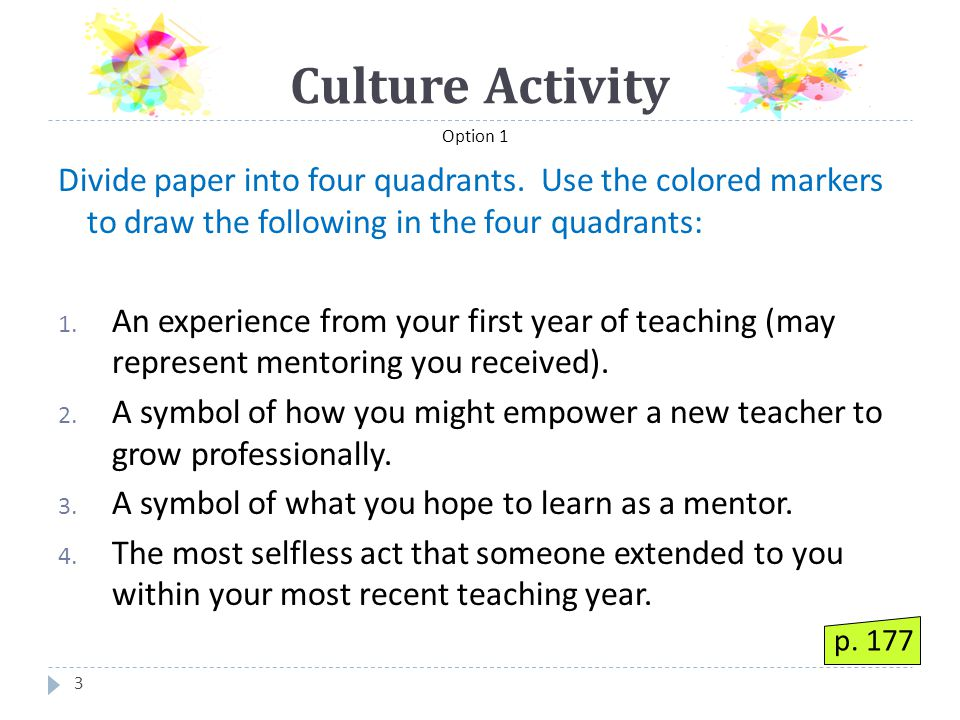 Culture Activity 4 On the index card write: 1.
