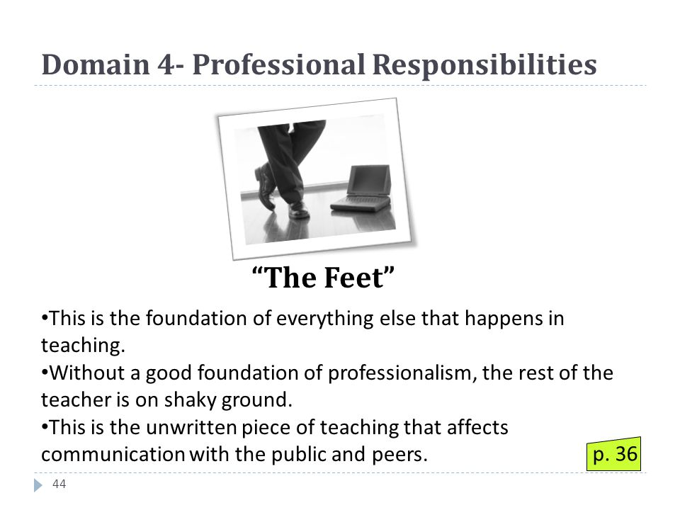 Domain 4- Professional Responsibilities 44 This is the foundation of everything else that happens in teaching.