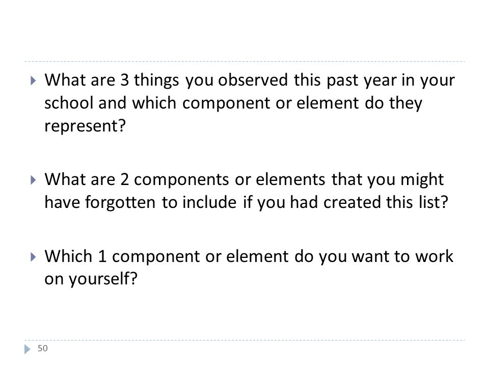50  What are 3 things you observed this past year in your school and which component or element do they represent.