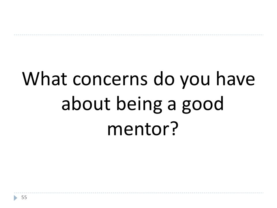 55 What concerns do you have about being a good mentor