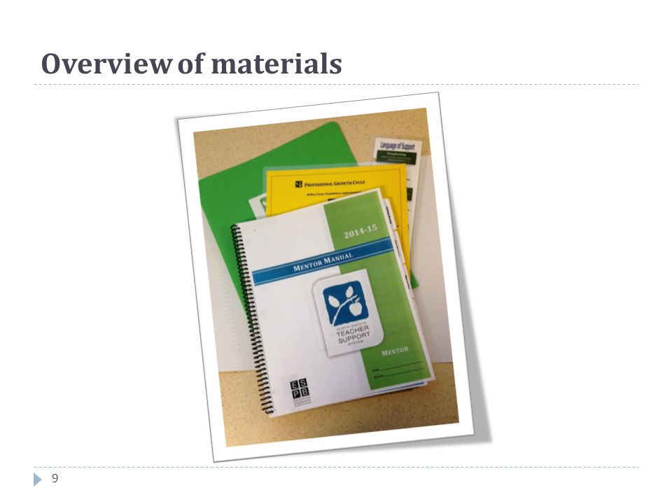 Overview of materials 9