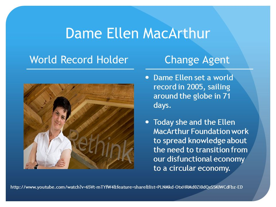 Dame Ellen MacArthur World Record HolderChange Agent Dame Ellen set a world record in 2005, sailing around the globe in 71 days.