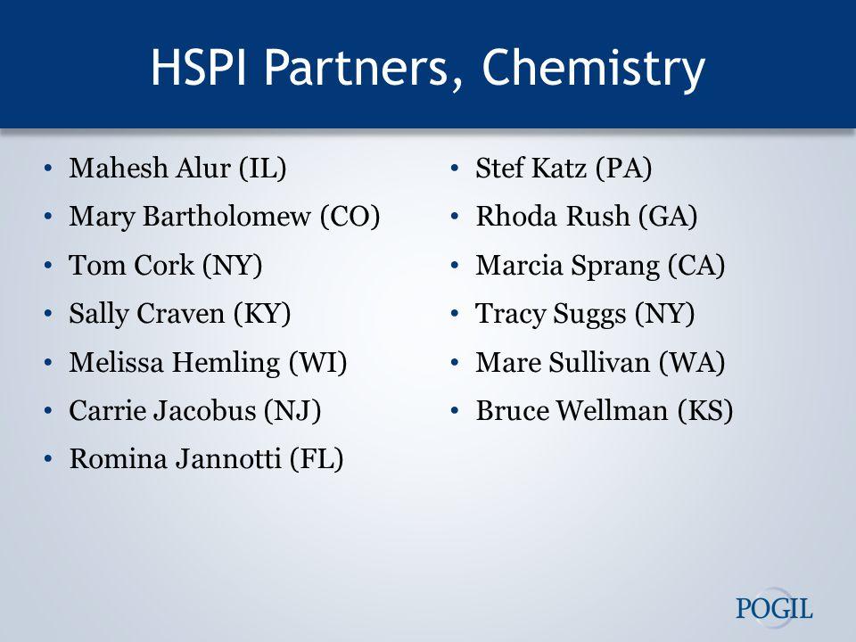 HSPI Partners, Chemistry Mahesh Alur (IL) Mary Bartholomew (CO) Tom Cork (NY) Sally Craven (KY) Melissa Hemling (WI) Carrie Jacobus (NJ) Romina Jannot
