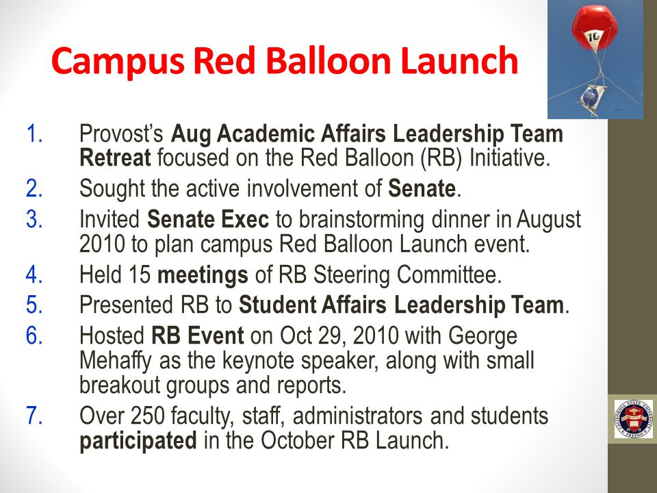 Campus Red Balloon Launch 1.Provost's Aug Academic Affairs Leadership Team Retreat focused on the Red Balloon (RB) Initiative.