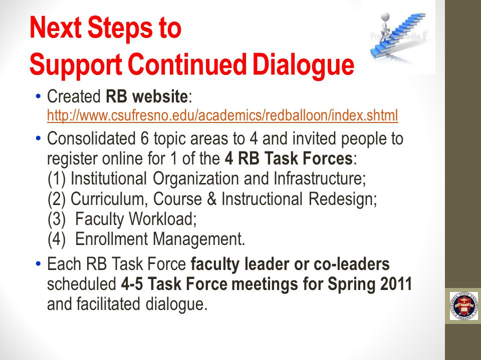 Next Steps to Support Continued Dialogue Created RB website : http://www.csufresno.edu/academics/redballoon/index.shtml http://www.csufresno.edu/academics/redballoon/index.shtml Consolidated 6 topic areas to 4 and invited people to register online for 1 of the 4 RB Task Forces : (1) Institutional Organization and Infrastructure; (2) Curriculum, Course & Instructional Redesign; (3) Faculty Workload; (4) Enrollment Management.