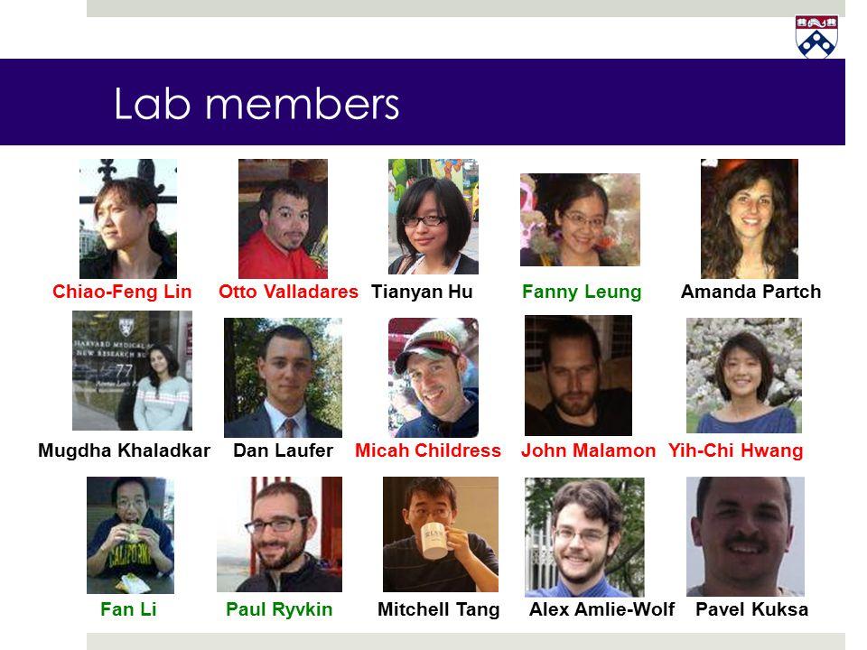 Lab members Mugdha KhaladkarDan Laufer Chiao-Feng LinOtto Valladares Fan Li Micah Childress Fanny Leung Yih-Chi Hwang Paul Ryvkin Amanda PartchTianyan