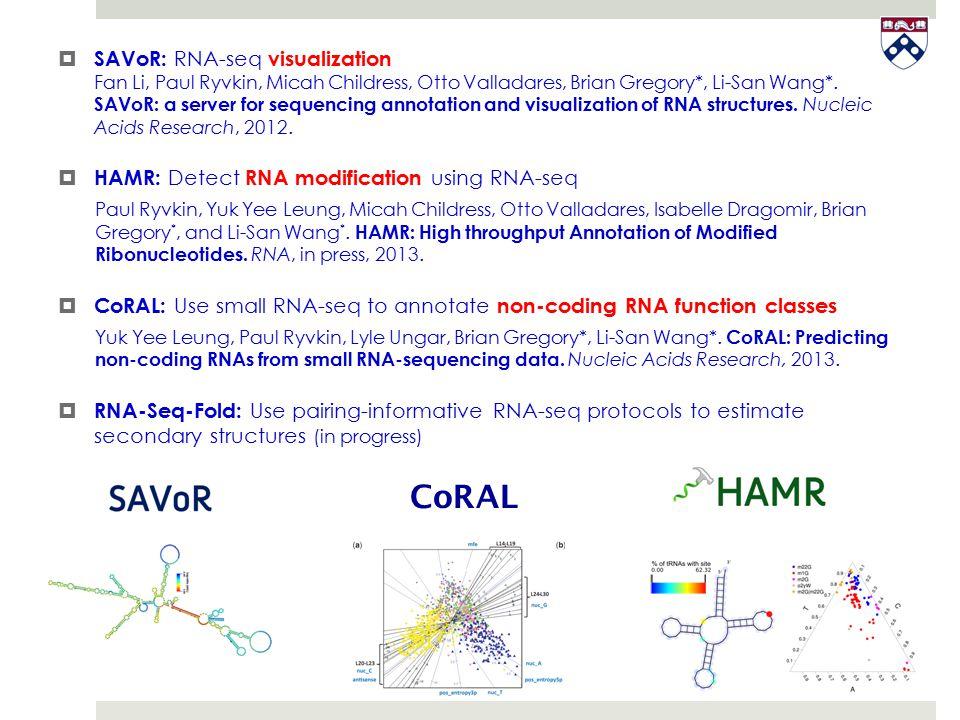  SAVoR: RNA-seq visualization Fan Li, Paul Ryvkin, Micah Childress, Otto Valladares, Brian Gregory*, Li-San Wang*. SAVoR: a server for sequencing ann