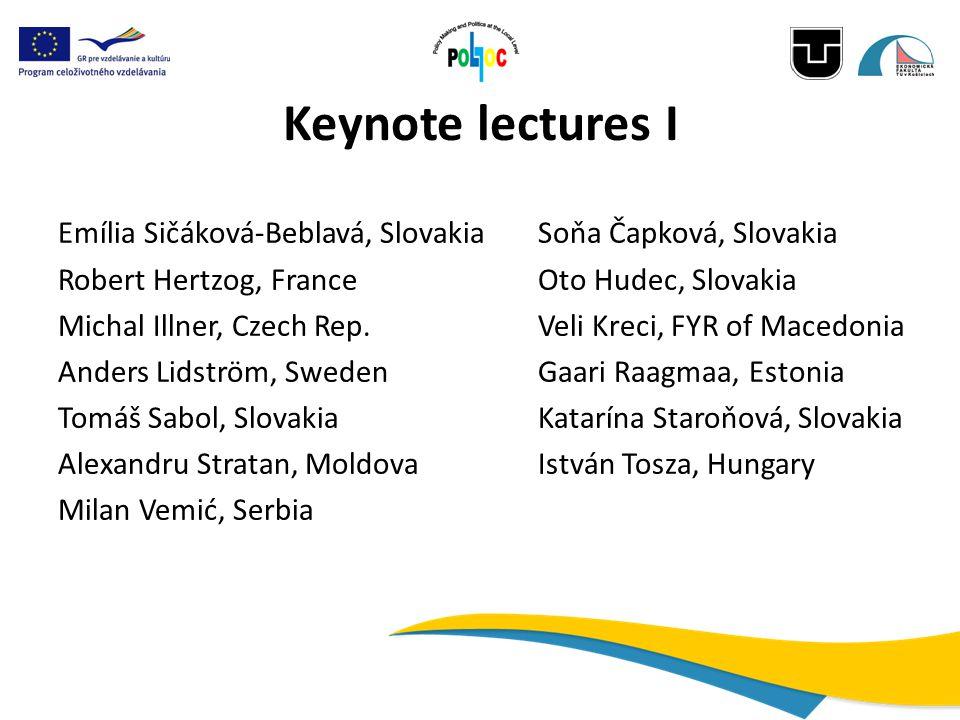 Keynote lectures I Emília Sičáková-Beblavá, SlovakiaSoňa Čapková, Slovakia Robert Hertzog, FranceOto Hudec, Slovakia Michal Illner, Czech Rep.Veli Kre
