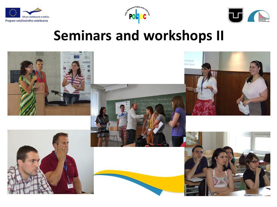 Seminars and workshops II