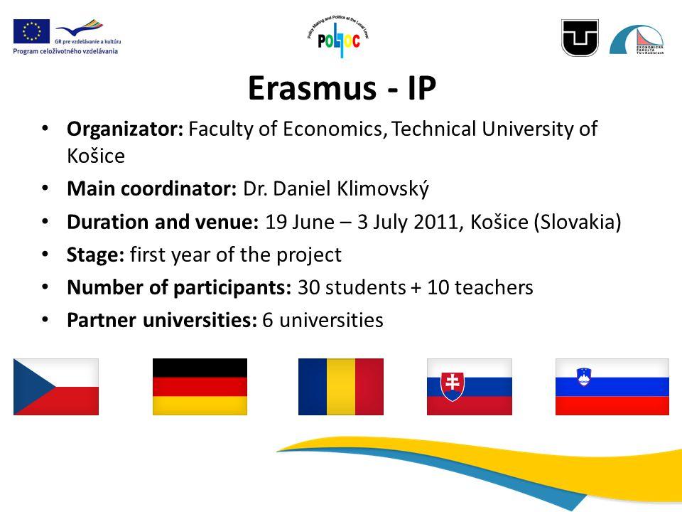 Erasmus - IP Organizator: Faculty of Economics, Technical University of Košice Main coordinator: Dr. Daniel Klimovský Duration and venue: 19 June – 3