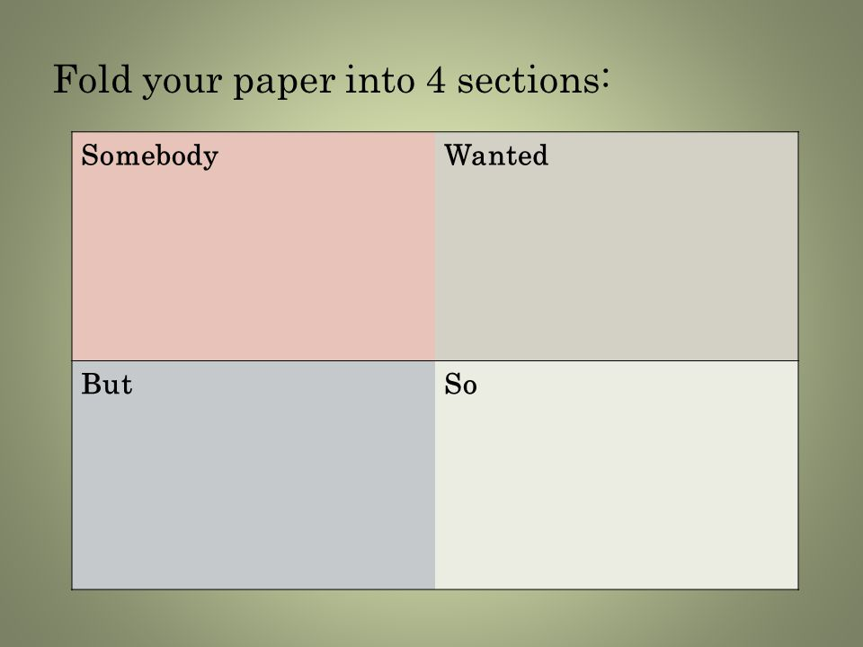 Fold your paper into 4 sections: SomebodyWanted ButSo
