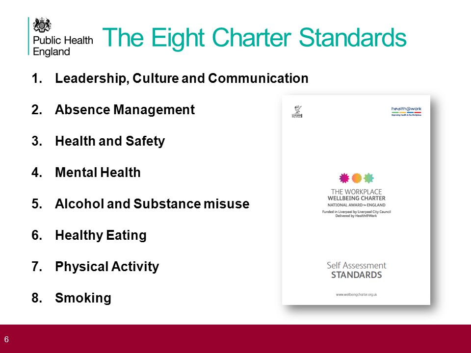 The Eight Charter Standards 1.Leadership, Culture and Communication 2.Absence Management 3.Health and Safety 4.Mental Health 5.Alcohol and Substance m