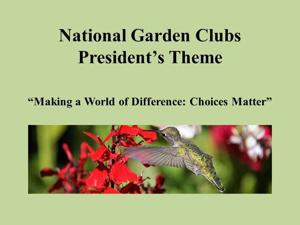 National Garden Clubs President's Theme Making a World of Difference: Choices Matter
