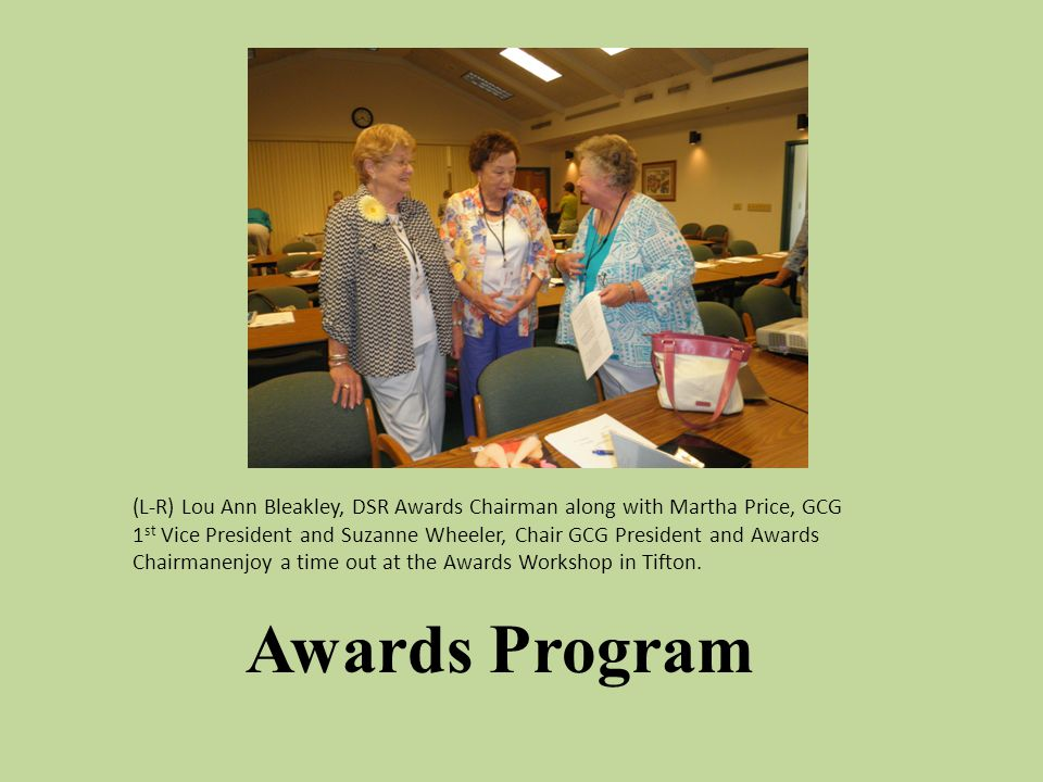 Awards Program (L-R) Lou Ann Bleakley, DSR Awards Chairman along with Martha Price, GCG 1 st Vice President and Suzanne Wheeler, Chair GCG President and Awards Chairmanenjoy a time out at the Awards Workshop in Tifton.