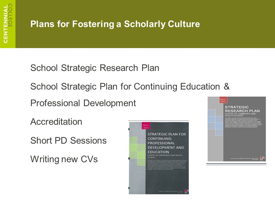Plans for Fostering a Scholarly Culture School Strategic Research Plan School Strategic Plan for Continuing Education & Professional Development Accre