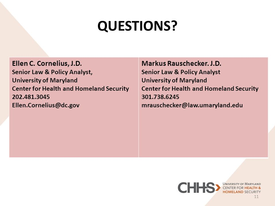 QUESTIONS. 11 Ellen C. Cornelius, J.D.