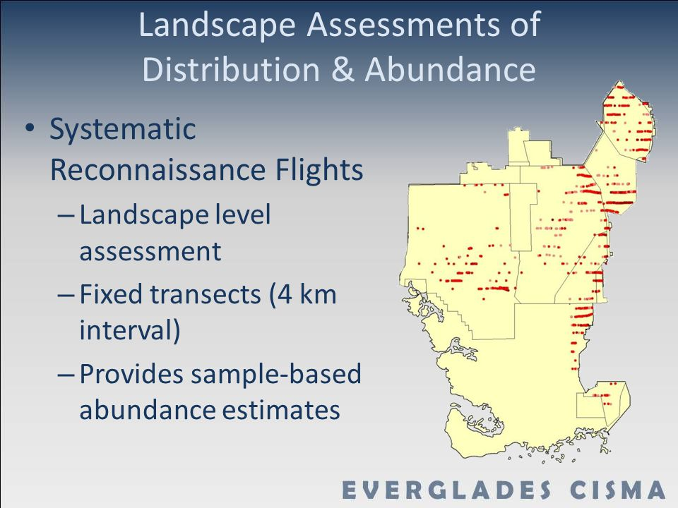 Landscape Assessments of Distribution & Abundance Systematic Reconnaissance Flights – Landscape level assessment – Fixed transects (4 km interval) – Provides sample-based abundance estimates