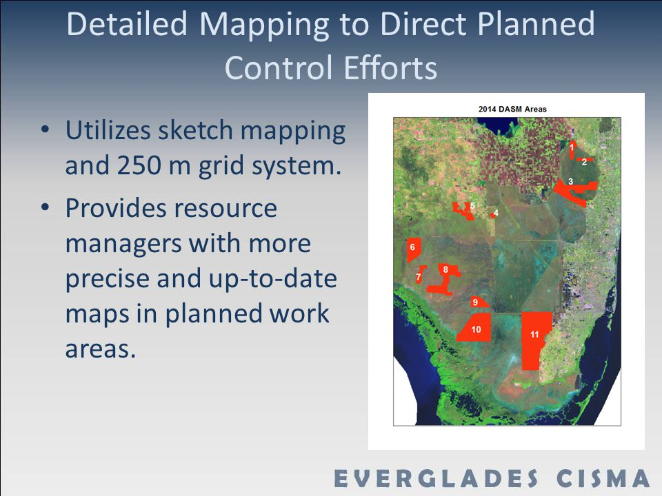 Detailed Mapping to Direct Planned Control Efforts Utilizes sketch mapping and 250 m grid system.