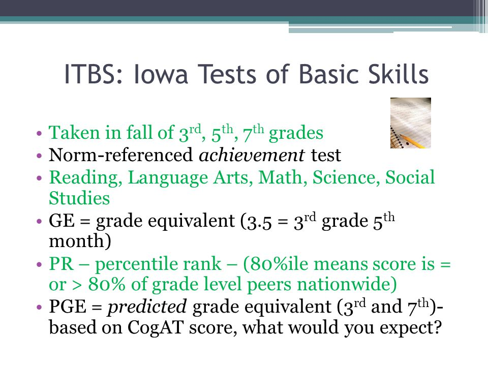ITBS: Iowa Tests of Basic Skills Taken in fall of 3 rd, 5 th, 7 th grades Norm-referenced achievement test Reading, Language Arts, Math, Science, Social Studies GE = grade equivalent (3.5 = 3 rd grade 5 th month) PR – percentile rank – (80%ile means score is = or > 80% of grade level peers nationwide) PGE = predicted grade equivalent (3 rd and 7 th )- based on CogAT score, what would you expect
