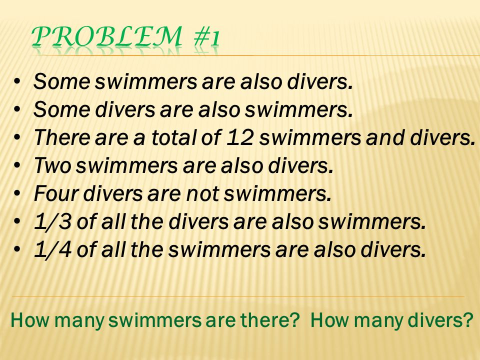 Some swimmers are also divers. Some divers are also swimmers. There are a total of 12 swimmers and divers. Two swimmers are also divers. Four divers a