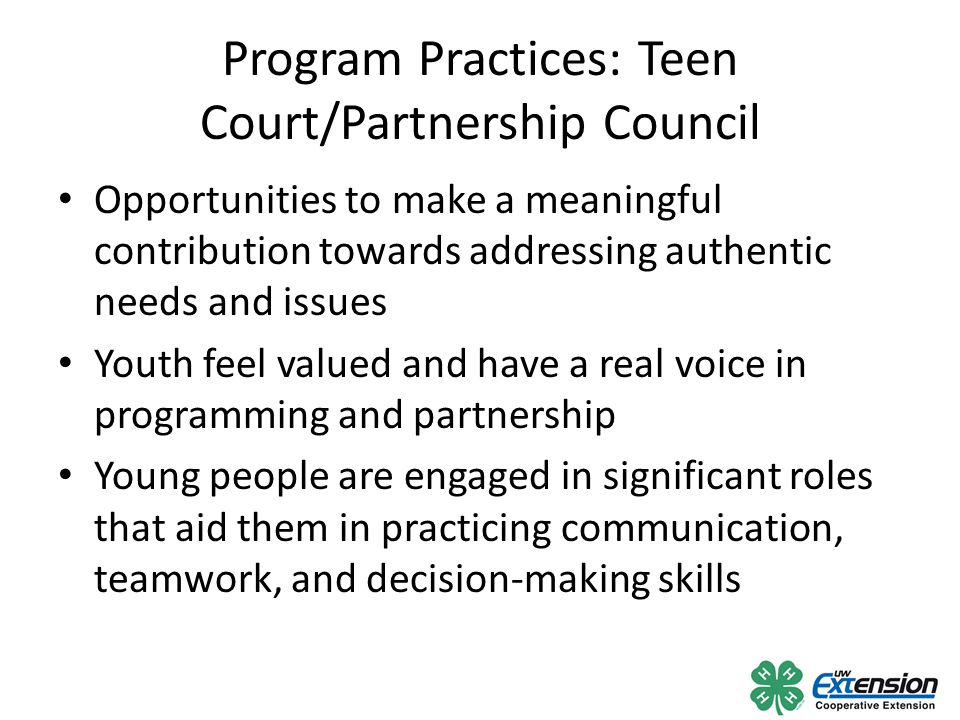 Program Practices: Teen Court/Partnership Council Opportunities to make a meaningful contribution towards addressing authentic needs and issues Youth feel valued and have a real voice in programming and partnership Young people are engaged in significant roles that aid them in practicing communication, teamwork, and decision-making skills