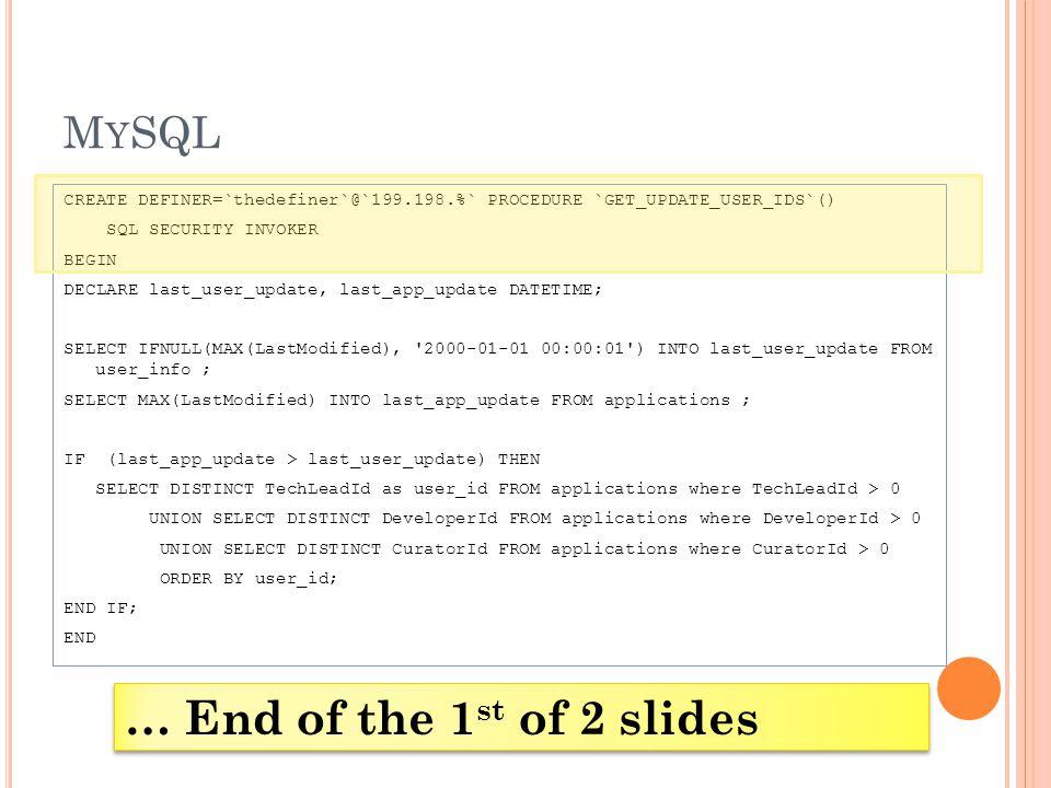 M Y SQL CREATE DEFINER=`thedefiner`@`199.198.%` PROCEDURE `GET_UPDATE_USER_IDS`() SQL SECURITY INVOKER BEGIN DECLARE last_user_update, last_app_update