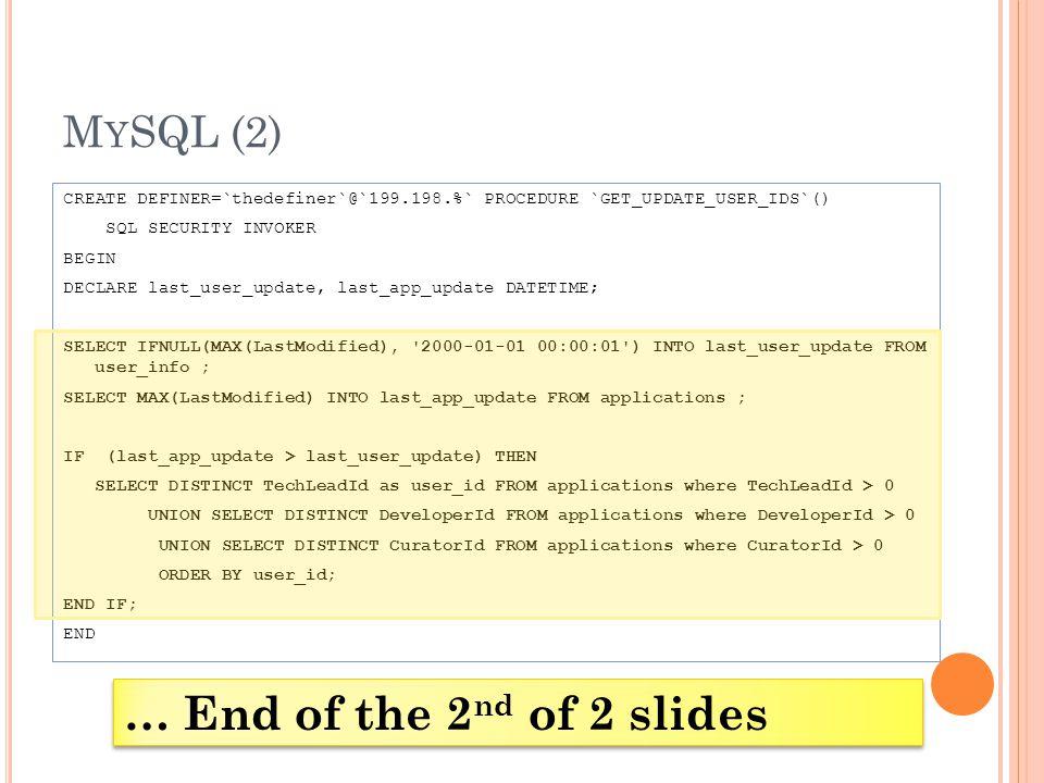 M Y SQL (2) CREATE DEFINER=`thedefiner`@`199.198.%` PROCEDURE `GET_UPDATE_USER_IDS`() SQL SECURITY INVOKER BEGIN DECLARE last_user_update, last_app_up