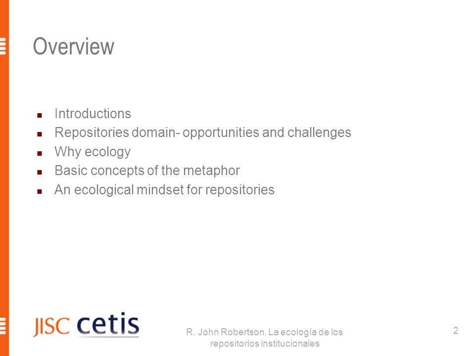 Introductions R.John Robertson  JISC CETIS  Part of Repositories Research Team.