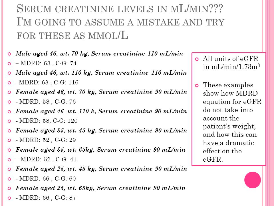 S ERUM CREATININE LEVELS IN M L/ MIN .