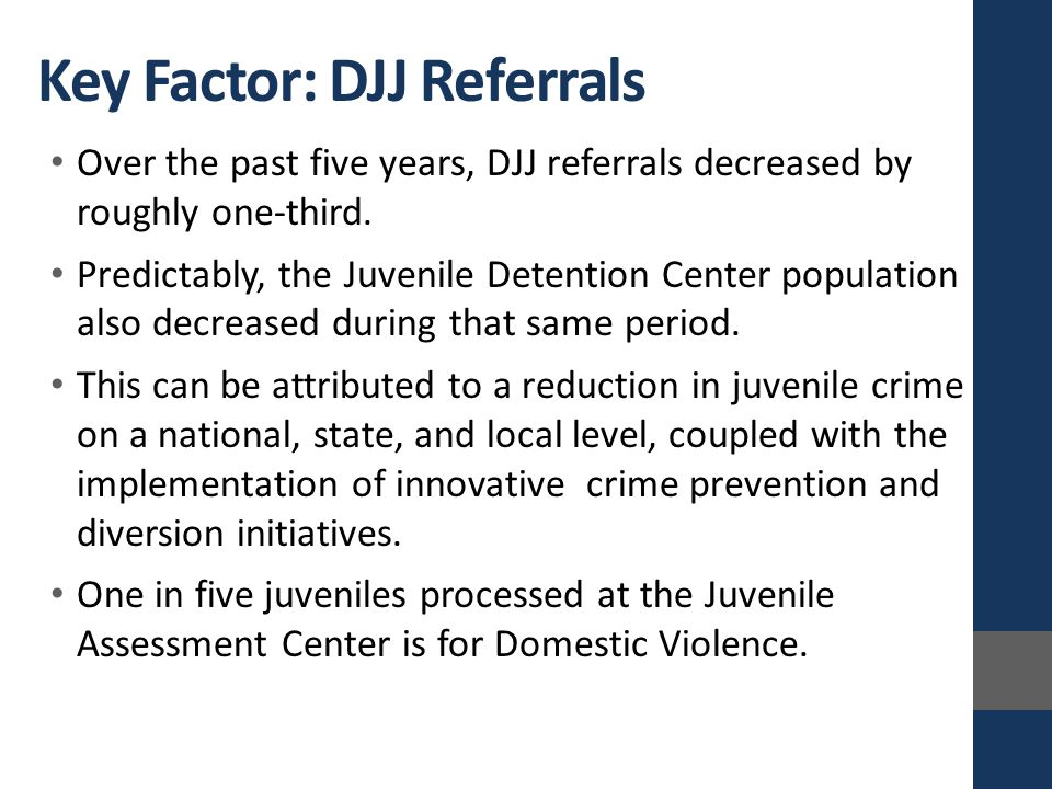 Over the past five years, DJJ referrals decreased by roughly one-third.