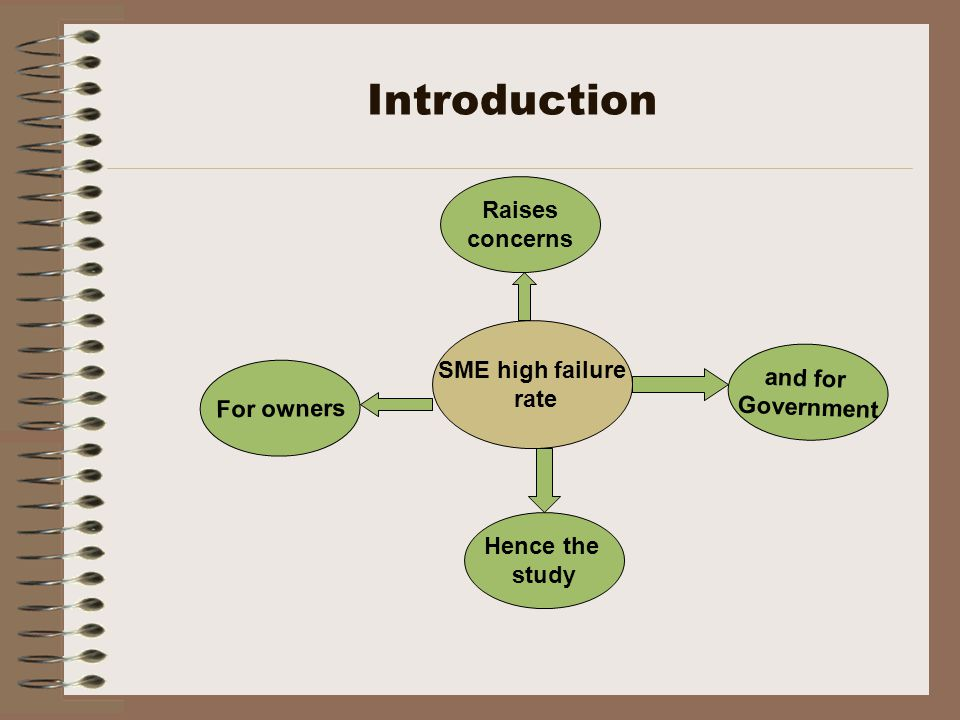 Introduction SME high failure rate Raises concerns Hence the study For owners and for Government