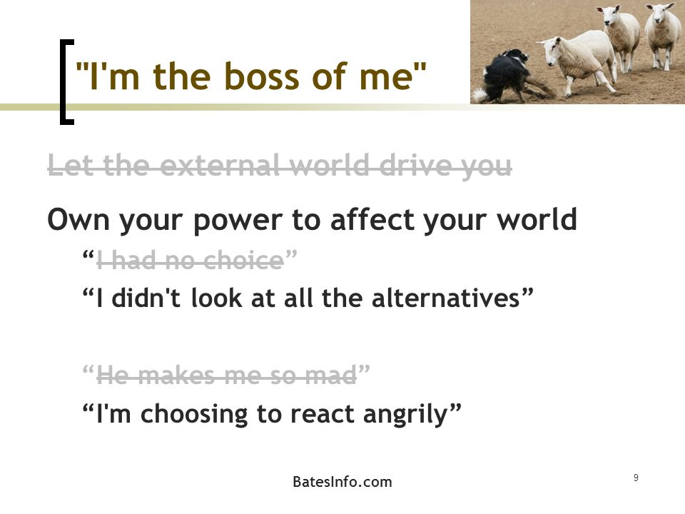 I m the boss of me Let the external world drive you Own your power to affect your world I had no choice I didn t look at all the alternatives He makes me so mad I m choosing to react angrily 9 BatesInfo.com