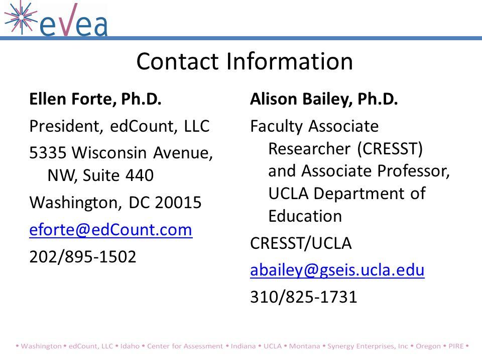 Contact Information Ellen Forte, Ph.D.